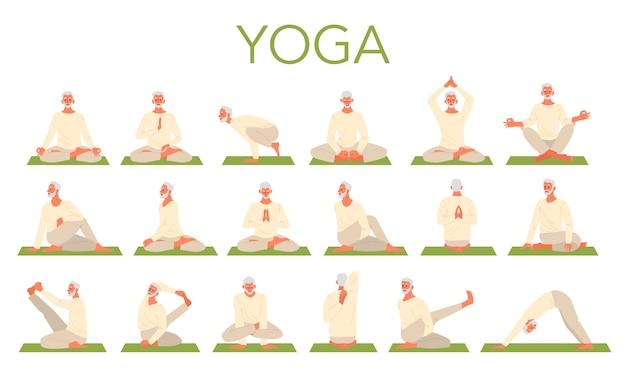 Stary człowiek robi zestaw do jogi. asana czyli ćwiczenie dla seniora. zdrowie fizyczne i psychiczne. relaksacja ciała i medytacja. szkolenie emerytów.