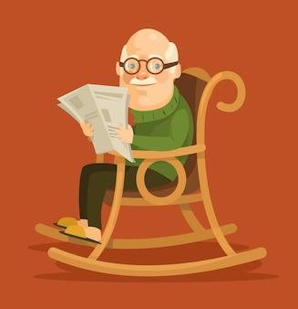 Stary człowiek siedzi w bujanym fotelu.
