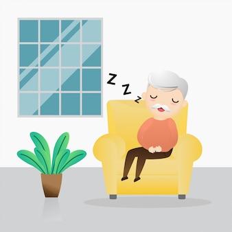 Stary człowiek śpi w fotelu. śliczny dziadunio śpi na kanapie.