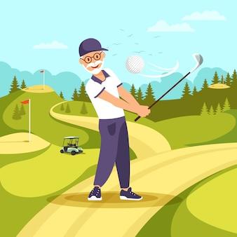 Stary człowiek w mundurze gra w golfa z klubem i piłką