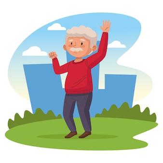 Stary człowiek w parku aktywny starszy charakter