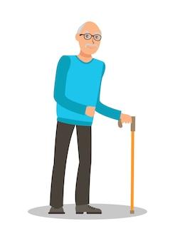 Stary człowiek z chodzącą laską