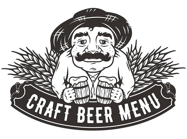 Stary człowiek z dwoma kuflami piwa z emblematem menu paska logo