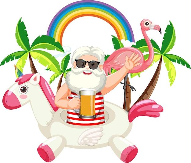 Stary człowiek z letnimi ikonami plaży na białym tle