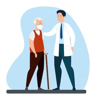 Stary człowiek z ochroną dróg oddechowych i lekarzem