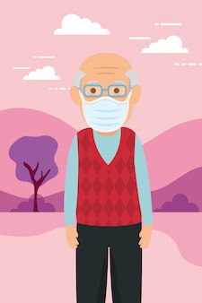 Stary człowiek za pomocą maski na covid19 pandemię