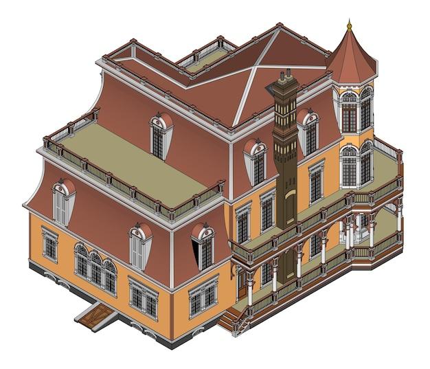 Stary dom w stylu wiktoriańskim. ilustracja na białym tle. gatunki z różnych stron.