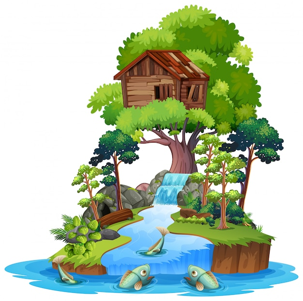 Stary drewniany drzewny dom na wyspie