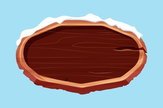 Stary drewniany pusty szyld ze śniegiem w stylu kreskówkipusta rama