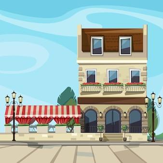 Stary europejski sklep butik muzeum restauracja kawiarnia front sklepu