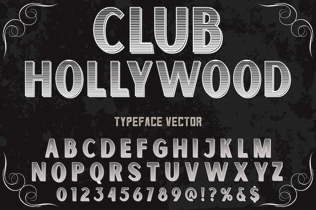Stary klub styl projektowania etykiet alfabetu hollywood