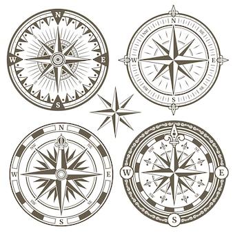 Stary kompas żeglarski nawigacji morskiej