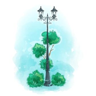 Stary kutego żelaza uliczny lampion w parku