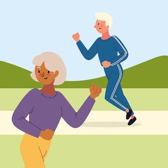 Stary mężczyzna i kobieta biegną