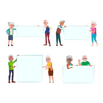 Stary mężczyzna i kobieta ludzie z zestawami banerów