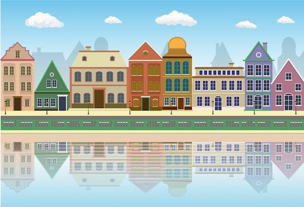 Stary miasto ulicy krajobraz z cieniem w wodzie.