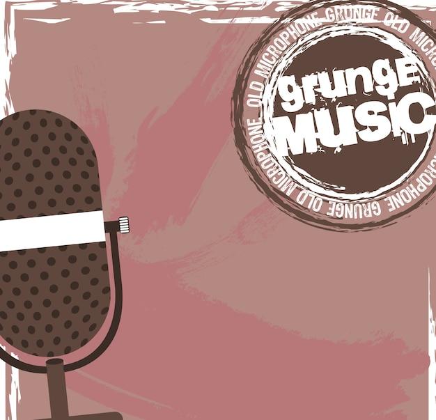 Stary mikrofon z pieczęcią muzyki grunge