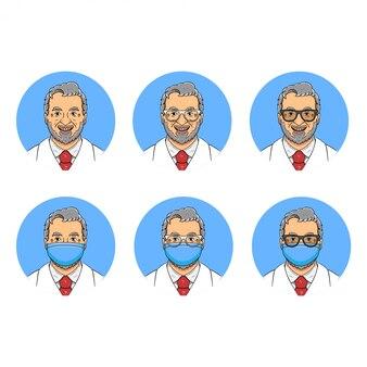 Stary miły lekarz z brodą avatar ilustracja