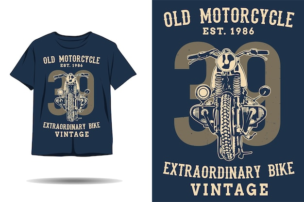 Stary motocykl niezwykły rower vintage sylwetka projekt koszulki