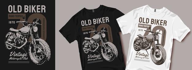 Stary motocyklista motocykl t shirt design