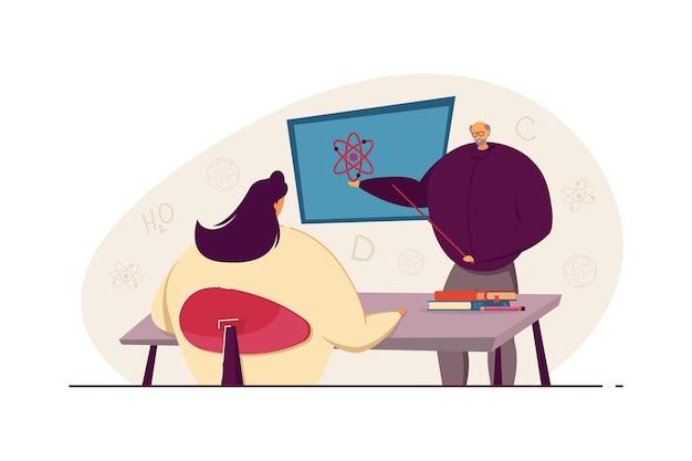 Stary nauczyciel nauczania fizyki studentka. osoba w podeszłym wieku trzymając wskaźnik na tablicy, dziewczyna siedzi przy stole ilustracji wektorowych płaski. edukacja, korepetycje na baner, projektowanie stron internetowych