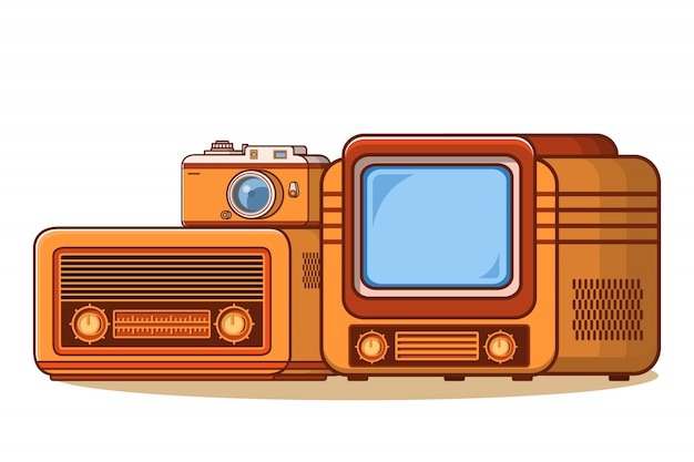 Stary odbiornik radiowy, telewizja vintage tv, kamera retro.
