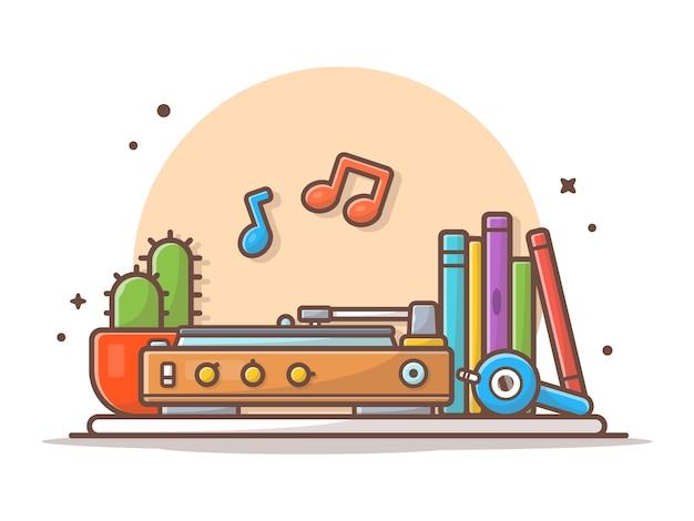 Stary odtwarzacz muzyczny z gramofonem, hełmofonem, kaktusem, książkami i winylową muzyczną ikoną ilustracyjny biel odizolowywający
