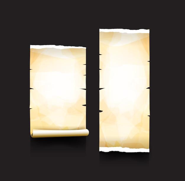 Stary papier walcowane i łza element stylu vintage
