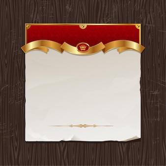 Stary papier ze złotą wstążką