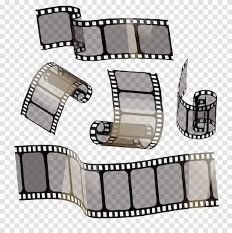 Stary pasek filmu z przezroczystością na przezroczystym tle