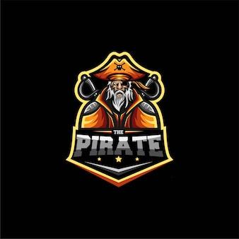 Stary piraci esport logo szablon ilustracja
