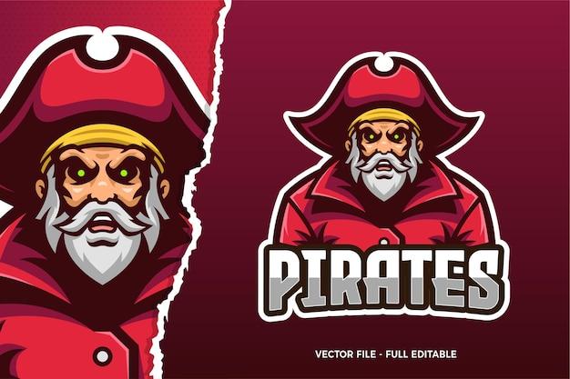 Stary pirat e-sport szablon logo gry