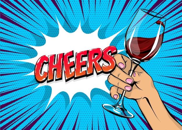 Stary plakat vintage kobieta pop-art trzymaj kieliszek do czerwonego wina ręka dziewczyny z napojem w stylu komiksów