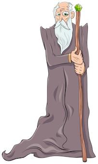 Stary postać z kreskówki czarodziej