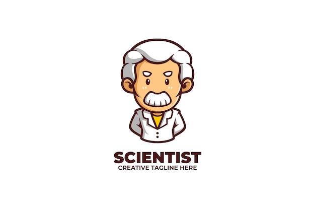 Stary profesor naukowiec kreskówka maskotka logo
