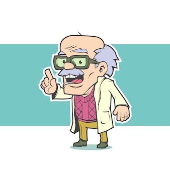 Stary profesor w okularach