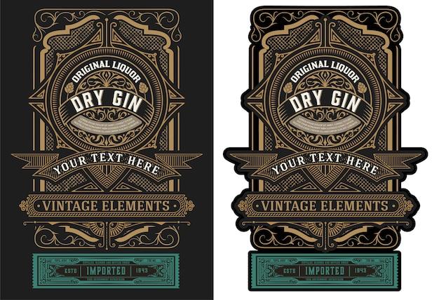 Stary projekt etykiety dla ilustracji alkoholu
