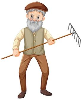 Stary rolnik postać z kreskówki trzymająca narzędzie ogrodowe grabie