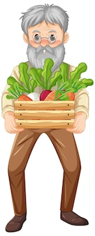 Stary rolnik trzymający drewnianą skrzynię warzyw na białym tle