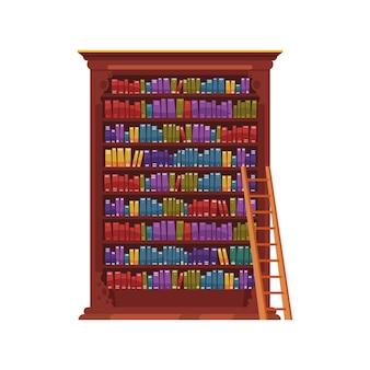 Stary skład wnętrza biblioteki z izolowanym obrazem rocznika szafki z kolorowymi książkami