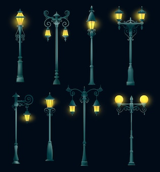 Stary słup latarni ulicznej i latarni, na białym tle latarni i latarni. vintage retro lampiony na stalowych słupach