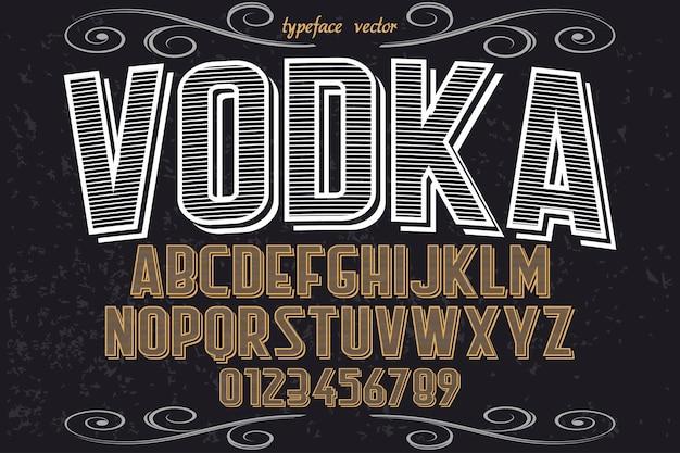 Stary styl alfabet krój typografia czcionki projekt wódka