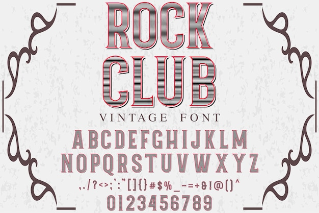 Stary styl literowanie projekt klubu rockowego