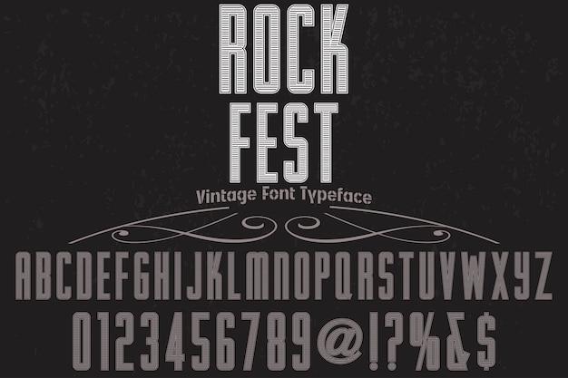 Stary styl napis projekt etykiety rock fest