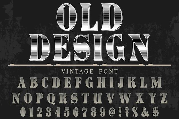 Stary styl projektowania etykiet alfabetu
