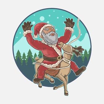 Stary święty mikołaj jeździ na jeleniu, gdy pada śnieg
