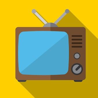 Stary telewizor płaski ikona ilustracja na białym tle wektor symbol znak