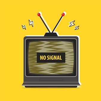 Stary telewizor zagłuszający. brak sygnału. ilustracja wektorowa płaski