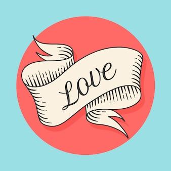 Stary transparent wstążka wzór z tekstem miłość w stylu grawerowania
