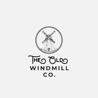 Stary wiatrak firmy streszczenie znak, symbol lub logo